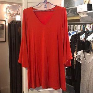 Bell sleeve tunic dress